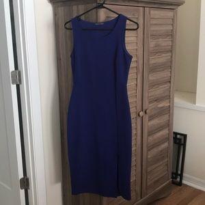 Royal blue sexy front slit dress